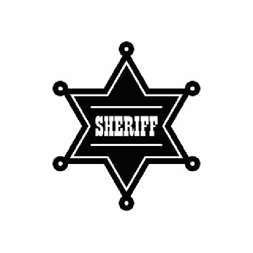 2x Sheriff badge Vinyl Decal Sticker Different colors & size for Cars/Bikes/Windows