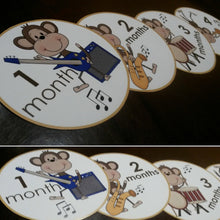 Onesie month stickers. Monkeys playing musical instruments themed Unisex month stickers.