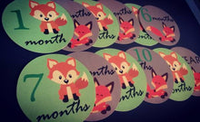Monthly baby stickers. Foxes themed Unisex onesie belly month stickers.