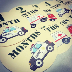 Emergency service vehicles Onesie month baby stickers. Ambulance, firetruck, emergency, police