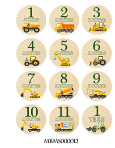 Monthly baby stickers. Work vehicles. Trucks, work, labor, construction, bulldozer, grader, crane