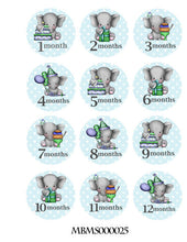 Monthly blue elephants baby stickers