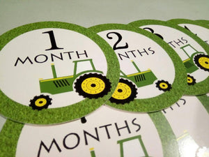 Monthly baby stickers. Tractor Onesie month stickers. Tractor, farm
