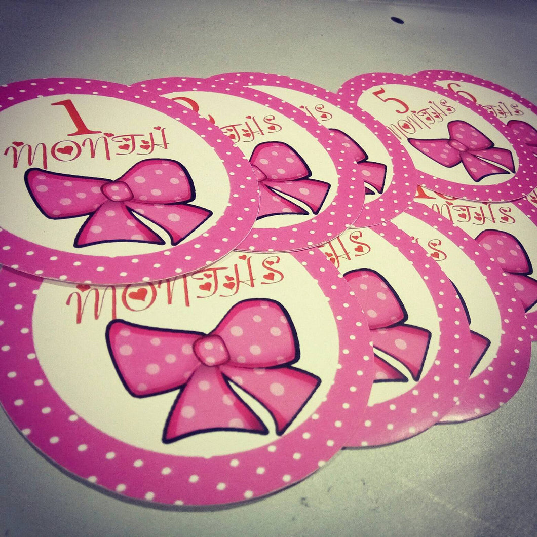 Monthly baby stickers. Pinkbow Onesie month stickers. Pink, bow, girls