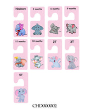 Girl's Baby clothes closet dividers. Size newborn - 4T. Pink polka elephants