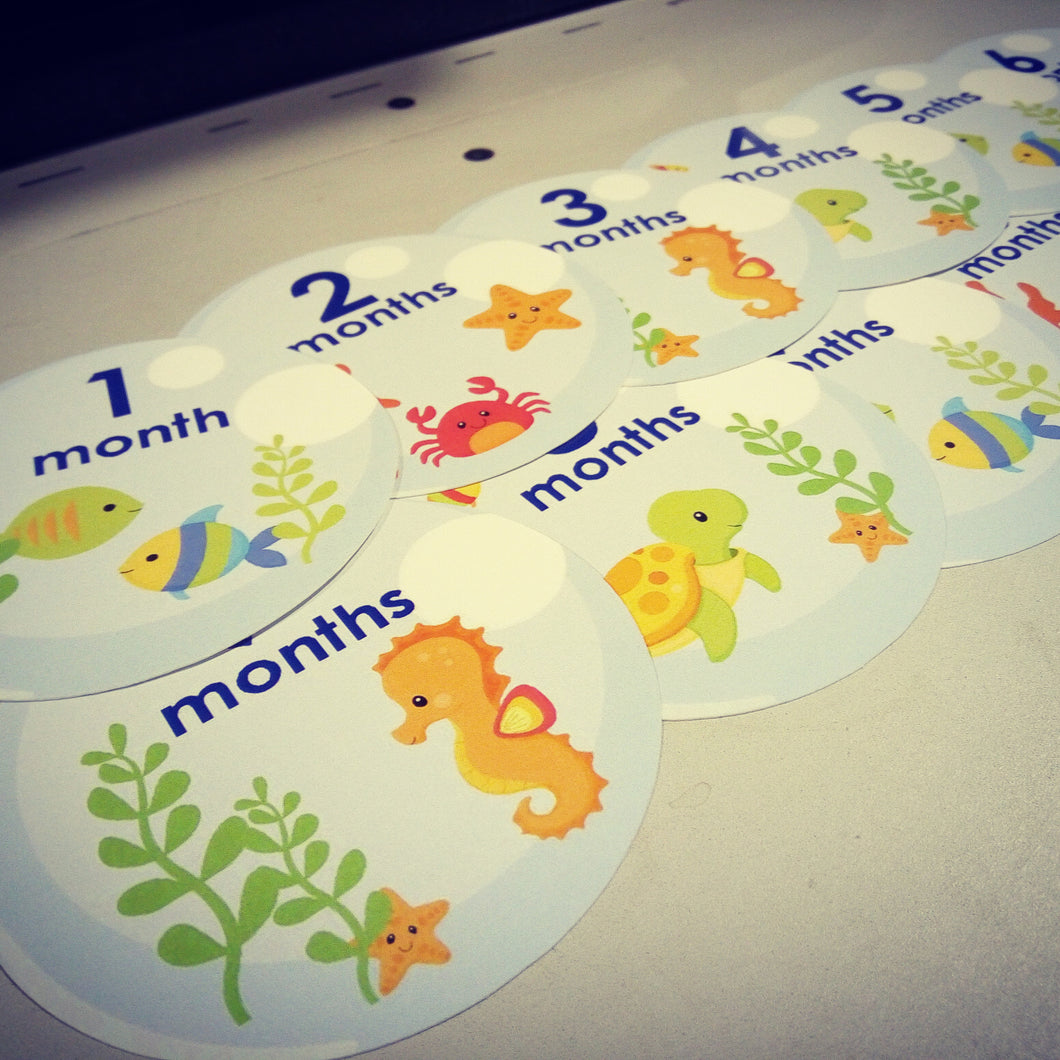 Ocean life themed monthly baby stickers