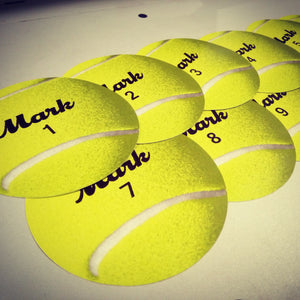 Personalized monthly baby stickers. Sports fans Wilson Tennis balls labels.