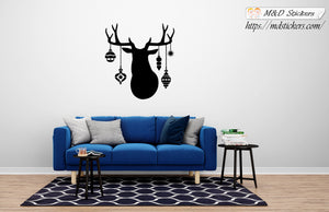 Wall Stickers Vinyl Decal Deer with ornaments