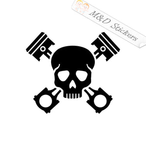 2x Mechanic Skull and tools Vinyl Decal Sticker Different colors & size for Cars/Bikes/Windows