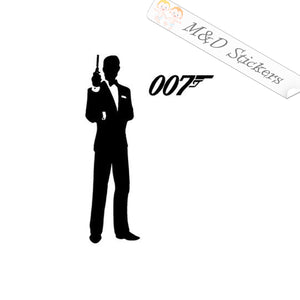 2x James Bond 007 Vinyl Decal Sticker Different colors & size for Cars/Bikes/Windows