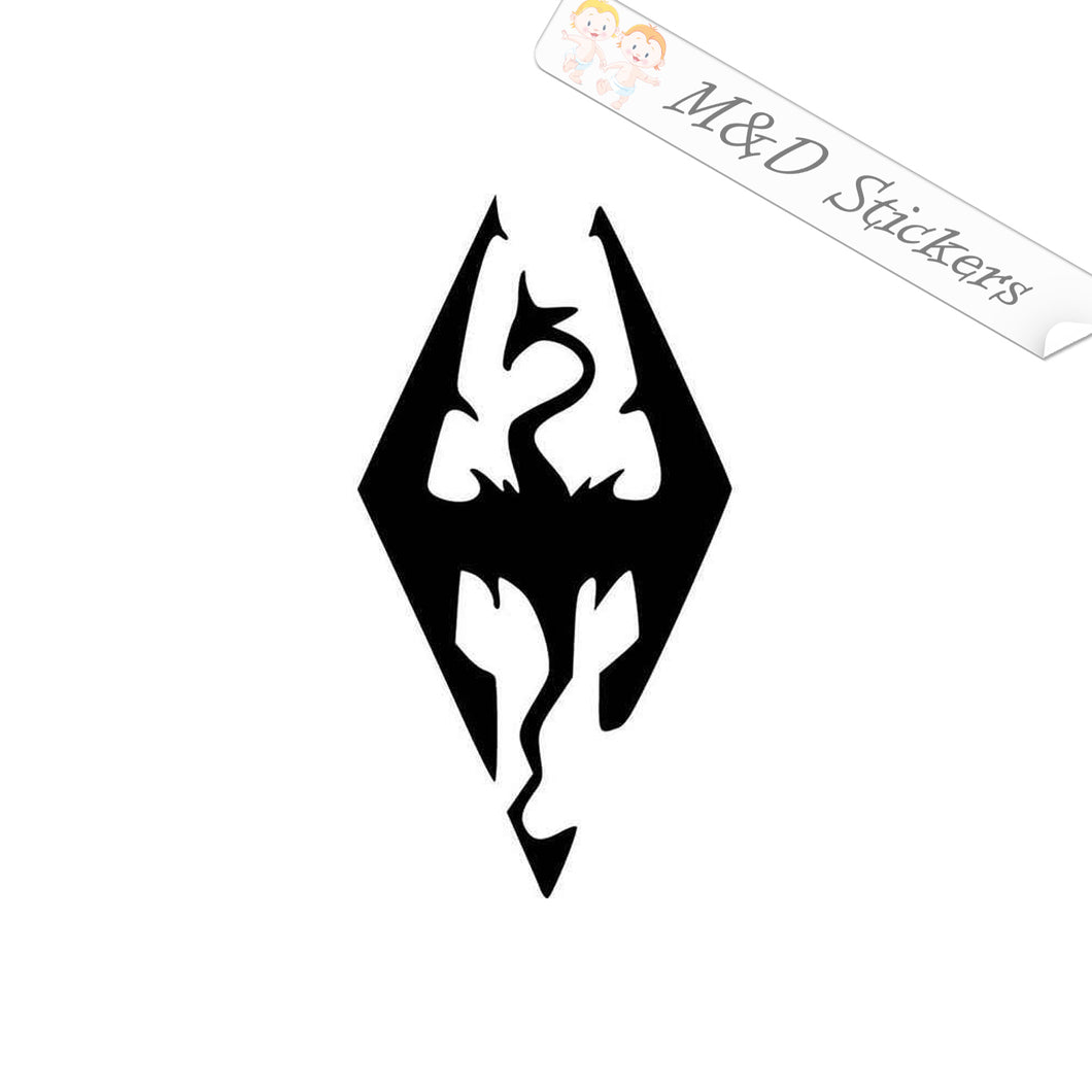 2x Skyrim Dragon Video Game Vinyl Decal Sticker Different colors & size for Cars/Bikes/Windows