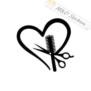 2x Barbershop scissors heart and brush Vinyl Decal Sticker Different colors & size for Cars/Bikes/Windows