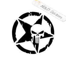 2x Punisher and star Vinyl Decal Sticker Different colors & size for Cars/Bikes/Windows
