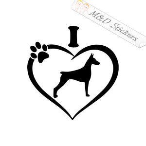 2x I love Doberman Dog Vinyl Decal Sticker Different colors & size for Cars/Bikes/Windows