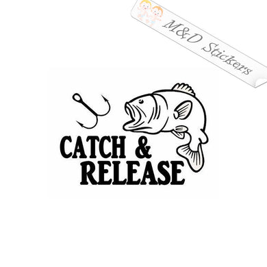 2x Catch & Release Vinyl Decal Sticker Different colors & size for Cars/Bikes/Windows