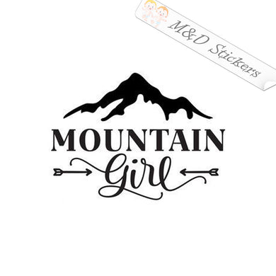 2x Mountain girl Vinyl Decal Sticker Different colors & size for Cars/Bikes/Windows