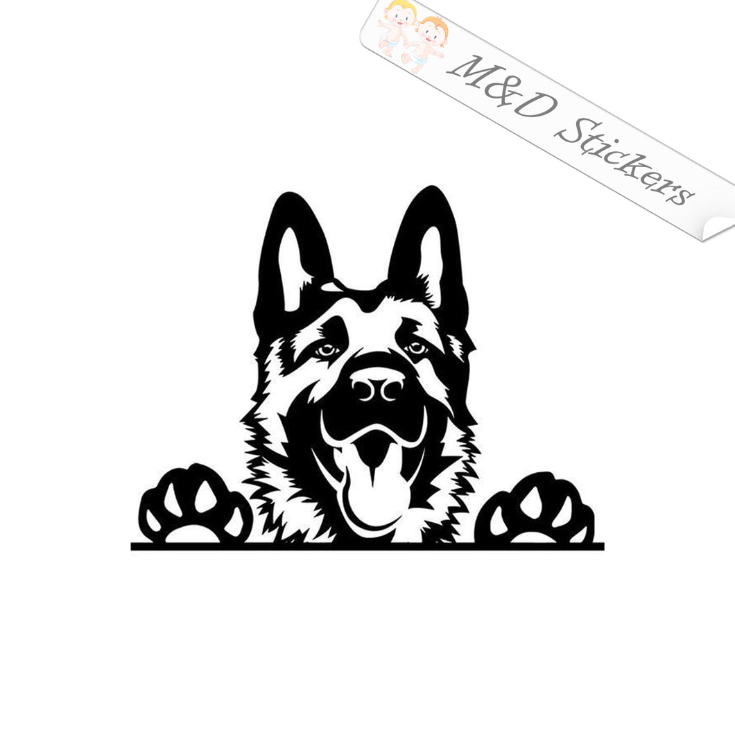 2x Peaking German sheppard Dog Vinyl Decal Sticker Different colors & size for Cars/Bikes/Windows