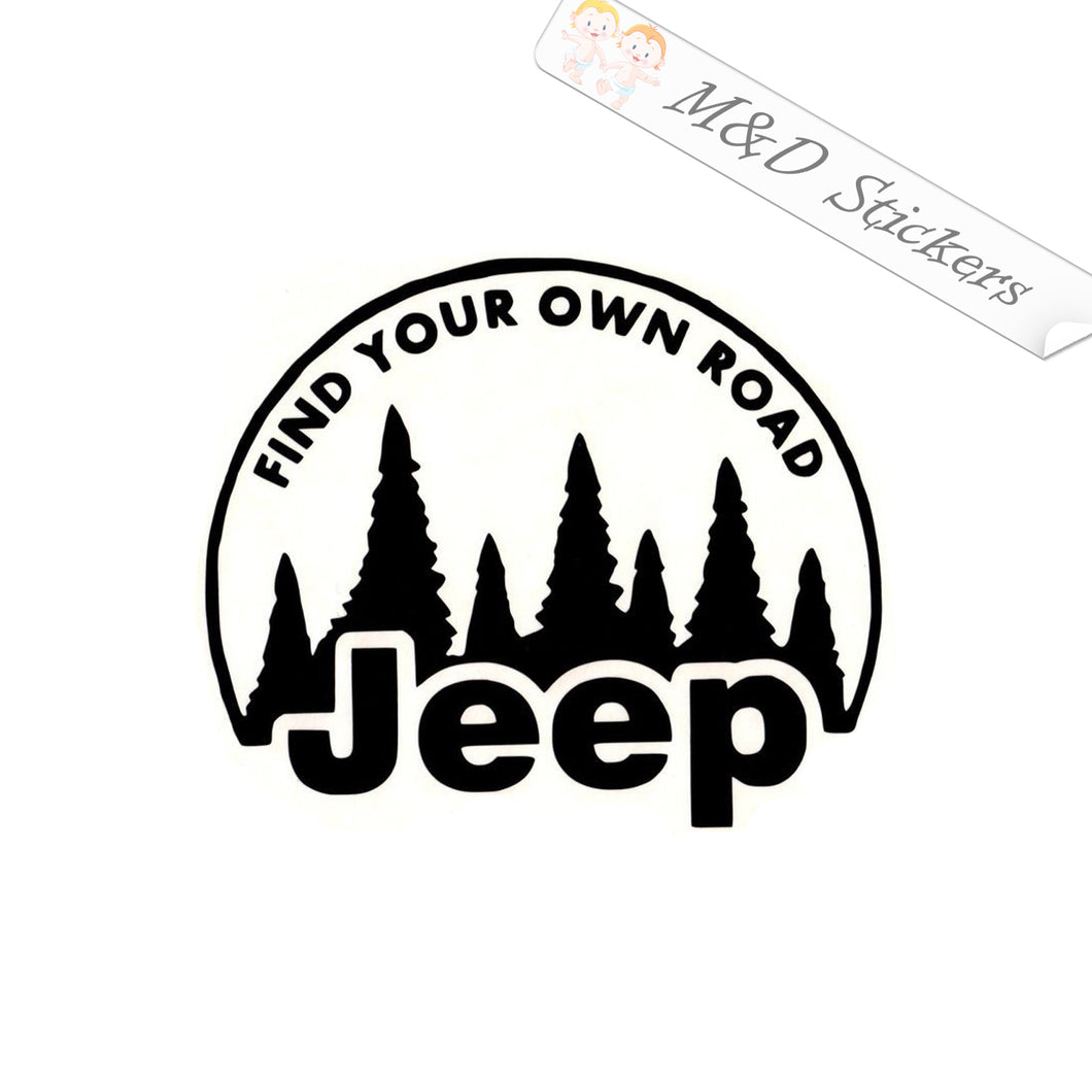 2x Jeep - Find Your own road Vinyl Decal Sticker Different colors & size for Cars/Bikes/Windows