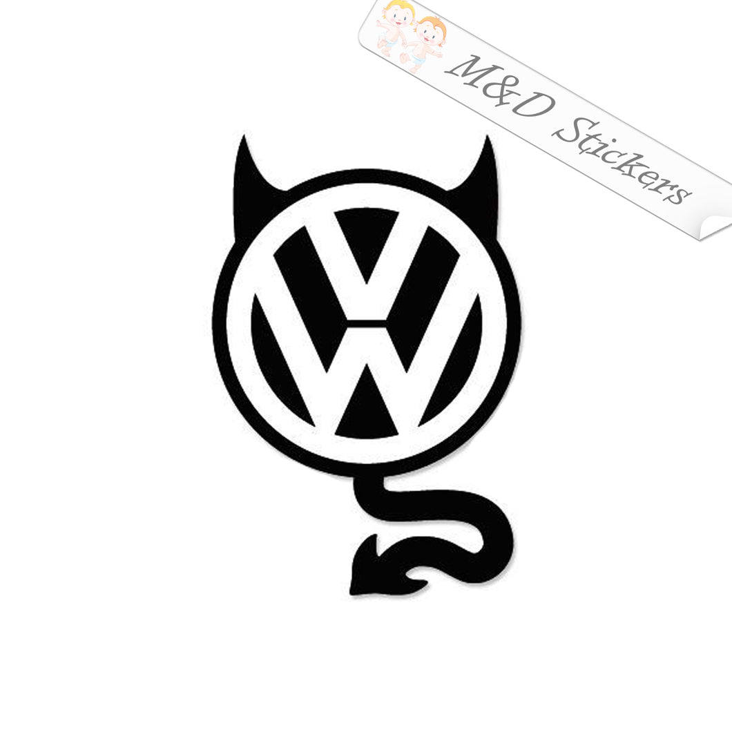 2x Volkswagen devil Logo Vinyl Decal Sticker Different colors & size for Cars/Bikes/Windows