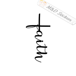 2x Christian Cross Faith Vinyl Decal Sticker Different colors & size for Cars/Bikes/Windows