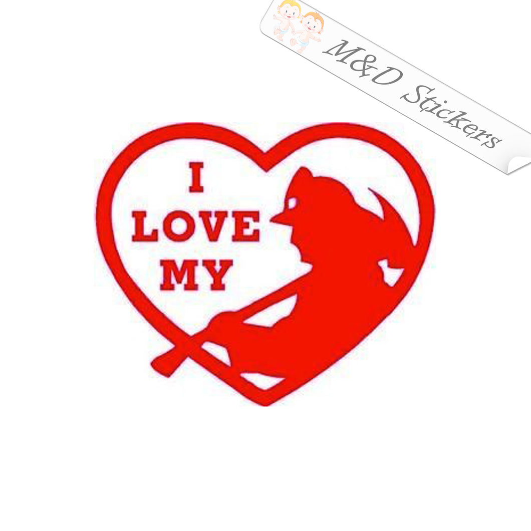 2x I love my firefighter Vinyl Decal Sticker Different colors & size for Cars/Bikes/Windows
