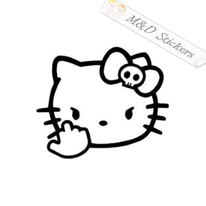 2x Angry Hello Kitty Vinyl Decal Sticker Different colors & size for Cars/Bikes/Windows