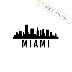 2x American Miami City Skyline Vinyl Decal Sticker Different colors & size for Cars/Bikes/Windows