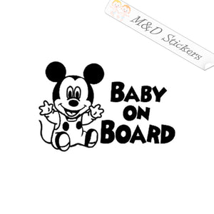 2x Mickey mouse Baby on board Vinyl Decal Sticker Different colors & size for Cars/Bikes/Windows