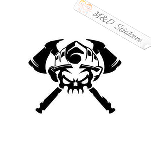 2x Firefighter axes skull Vinyl Decal Sticker Different colors & size for Cars/Bikes/Windows