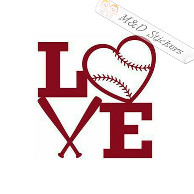2x Love Baseball Vinyl Decal Sticker Different colors & size for Cars/Bikes/Windows