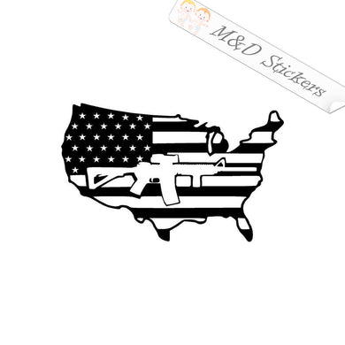 2x American Flag Country shaped and gun Vinyl Decal Sticker Different colors & size for Cars/Bikes/Windows