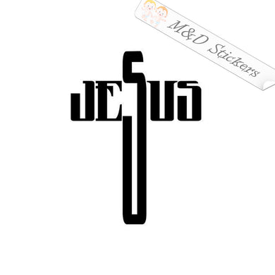 2x Jesus Cross Vinyl Decal Sticker Different colors & size for Cars/Bikes/Windows