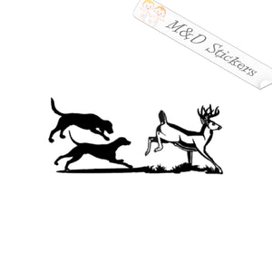 2x Dogs chasing deer Vinyl Decal Sticker Different colors & size for Cars/Bikes/Windows