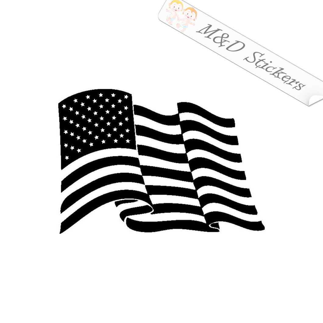 2x American Flag Vinyl Decal Sticker Different colors & size for Cars/Bikes/Windows