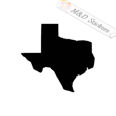 2x Texas State Borders Shape Vinyl Decal Sticker Different colors & size for Cars/Bikes/Windows