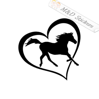 2x Love horses Vinyl Decal Sticker Different colors & size for Cars/Bikes/Windows