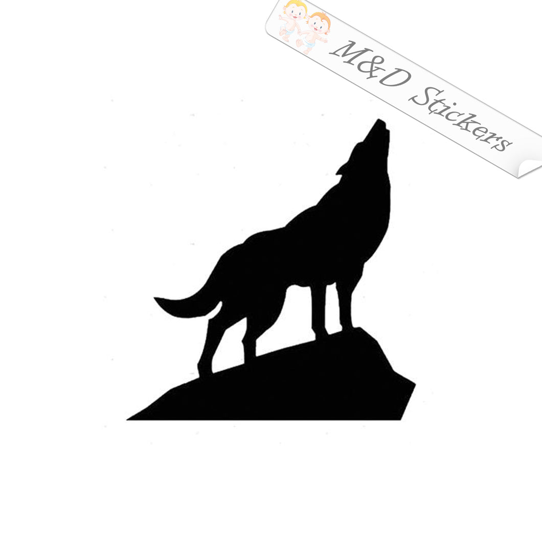 2x Wolf on the cliff Vinyl Decal Sticker Different colors & size for Cars/Bikes/Windows