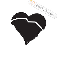2x South Carolina State Borders Shape Love Heart Vinyl Decal Sticker Different colors & size for Cars/Bikes/Windows