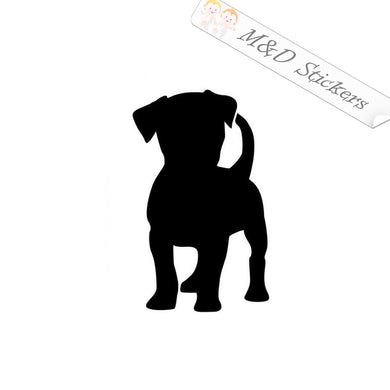 2x Puppy Silhouette Vinyl Decal Sticker Different colors & size for Cars/Bikes/Windows