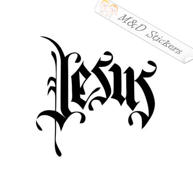 2x Jesus Vinyl Decal Sticker Different colors & size for Cars/Bikes/Windows