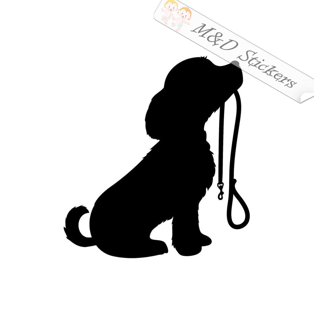 2x Dog and leash Vinyl Decal Sticker Different colors & size for Cars/Bikes/Windows