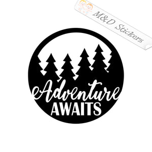 2x Adventure awaits Vinyl Decal Sticker Different colors & size for Cars/Bikes/Windows