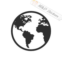 2x World Globe Vinyl Decal Sticker Different colors & size for Cars/Bikes/Windows