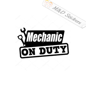 2x Mechanic on Duty Vinyl Decal Sticker Different colors & size for Cars/Bikes/Windows