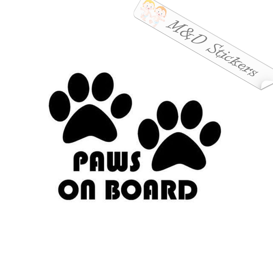 2x Paws on board Vinyl Decal Sticker Different colors & size for Cars/Bikes/Windows