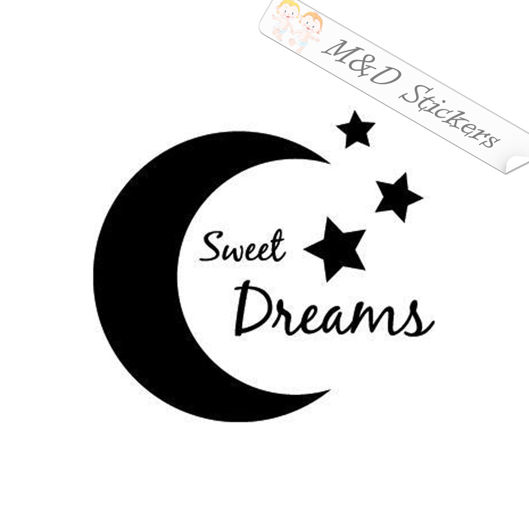 2x Moon and stars sweet dreams Vinyl Decal Sticker Different colors & size for Cars/Bikes/Windows