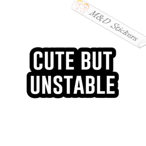 2x Cute but Unstable Vinyl Decal Sticker Different colors & size for Cars/Bikes/Windows