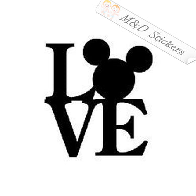 2x Love Mickey Mouse Vinyl Decal Sticker Different colors & size for Cars/Bikes/Windows