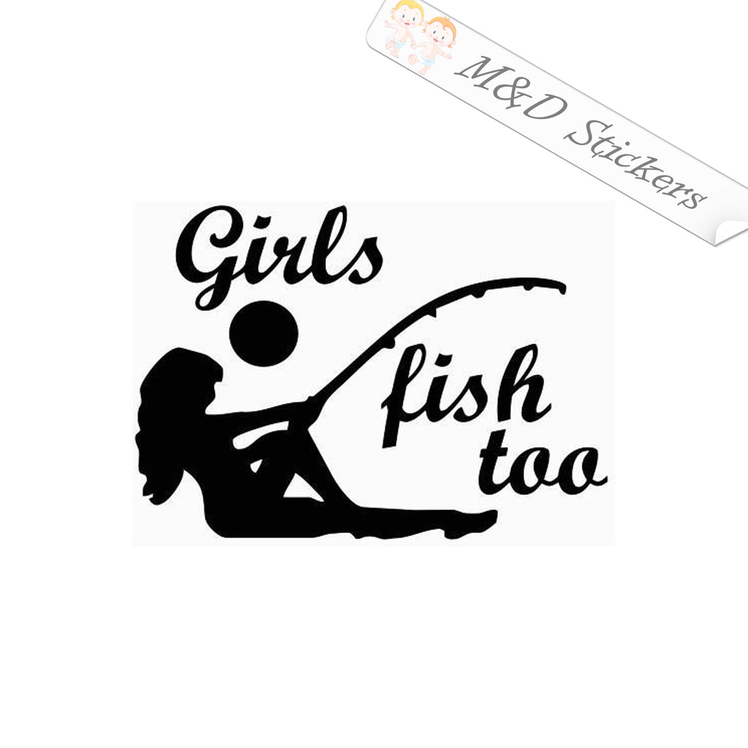 2x Girls fishing Vinyl Decal Sticker Different colors & size for Cars/Bikes/Windows