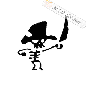 2x Pirate skeleton Vinyl Decal Sticker Different colors & size for Cars/Bikes/Windows